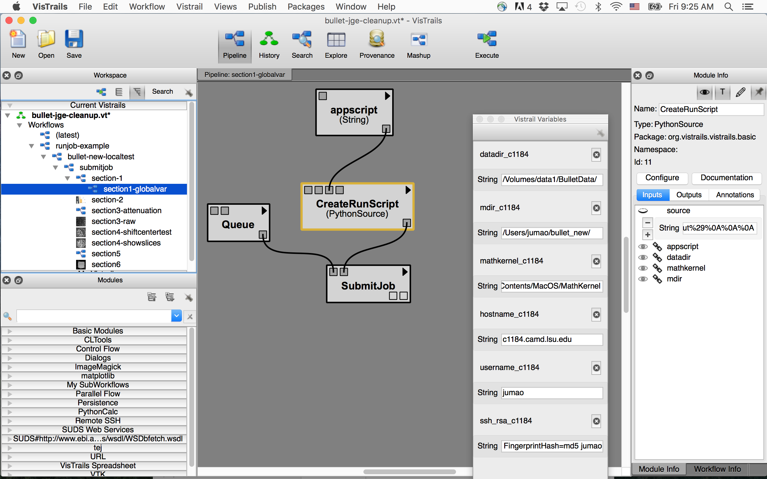 How to run the bullet workflow — Advanced Visualization